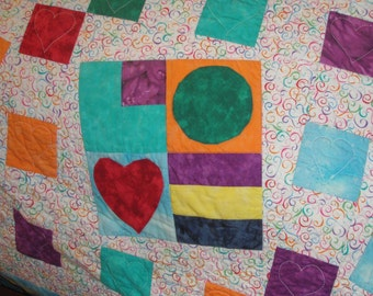 Original Handmade Patchwork Queen King Quilt - Cockeyed Love II Quiltsy