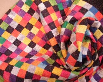 Handmade Patchwork Twin Dorm Quilt Art Quilt Earth Quilt Redux 82 x 54