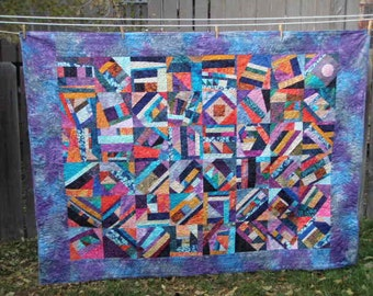 Handmade Sofa Quilt Throw in Batiks, Moon Over Mardi Gras Quiltsy Modern Crazy Patch