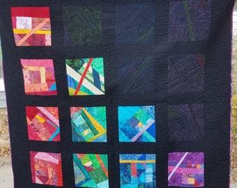 """Art Quilt Crazy Modern Abstract wall hanging """"Eclipse"""" Handmade"""
