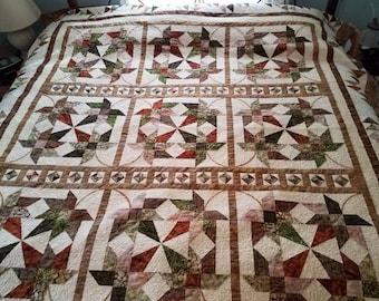 Queen King Quilt Maple Leaves & Gems Handmade Batik