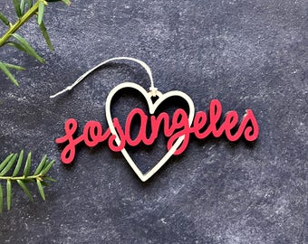 Los Angeles Heart Christmas Ornament - Choose your color! | Christmas Ornament | Housewarming Gift | Christmas Gift | LA | Los Angeles Heart