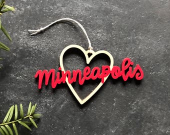 Minneapolis Heart Christmas Ornament - Choose your color | Christmas Ornament | Housewarming Gift | Christmas Gift | Minneapolis Heart