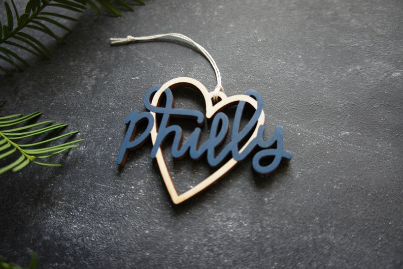 Christmas Ornament Philadelphia Philly Heart Christmas Gift Housewarming Gift Choose your color! Philly Heart Christmas Ornament