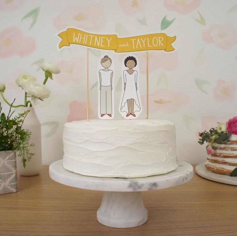 6cd0510e42ec Wedding Cake Topper Set Custom Cake Banner No. 1   Bride
