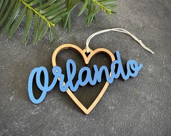 Orlando Heart Christmas Ornament - Choose your color!   Christmas Ornament   Housewarming Gift   Christmas Gift   Orlando FL   Orlando Heart