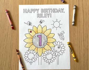 Birthday Coloring Sheet Printable -  Personalized Sunflower Themed Coloring Page   Kids Birthday   Boy Girl Birthday   Print at Home
