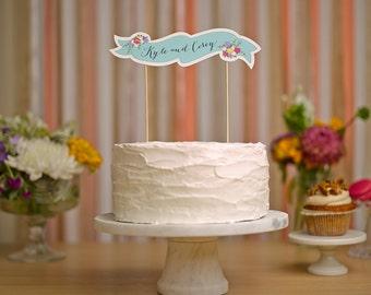 Custom Floral Cake Banner - Wedding Cake Topper