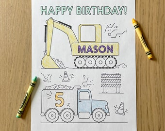 Birthday Coloring Sheet Printable -  Personalized Construction Themed Coloring Page   Kids Birthday   Boy Girl Birthday   Print at Home