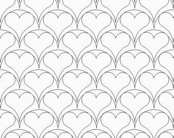 Clam Shell Hearts e2e, Digital Pantograph, Digital Quilting Design