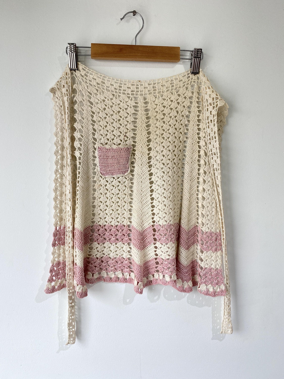 Vintage Aprons, Retro Aprons, Old Fashioned Aprons & Patterns Vintage Crochet Apron $68.00 AT vintagedancer.com
