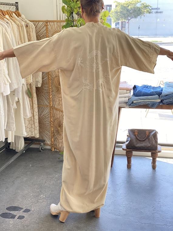 Vintage Cream Raw Silk Kimono