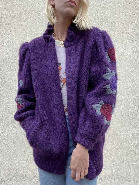Vintage Purple Puff Sleeve Cardigan - image 4