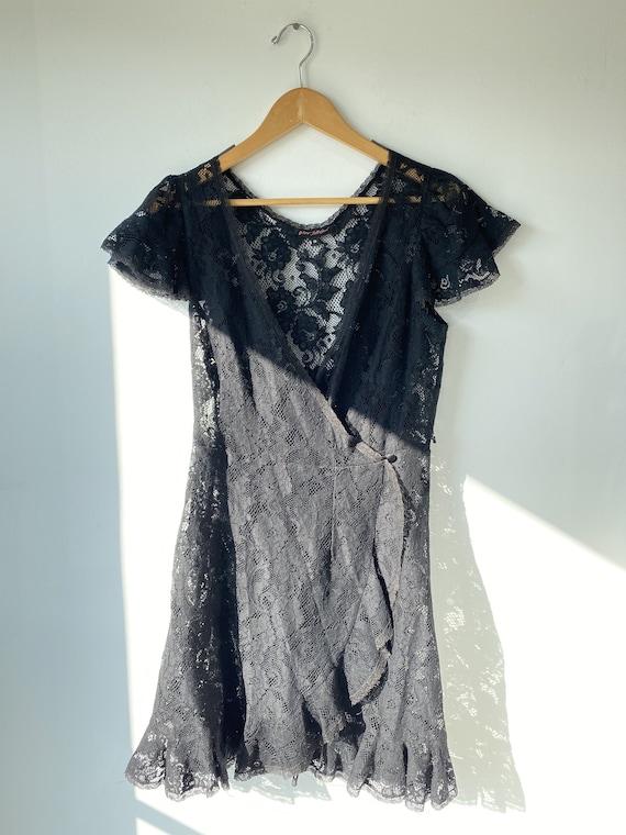 Vintage Betsey Johnson Black Dress Goth Ballet Petite Size 4