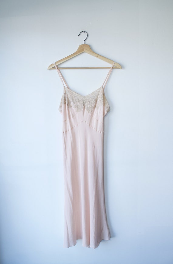 1940s Bias Cut Pink Silk Slip