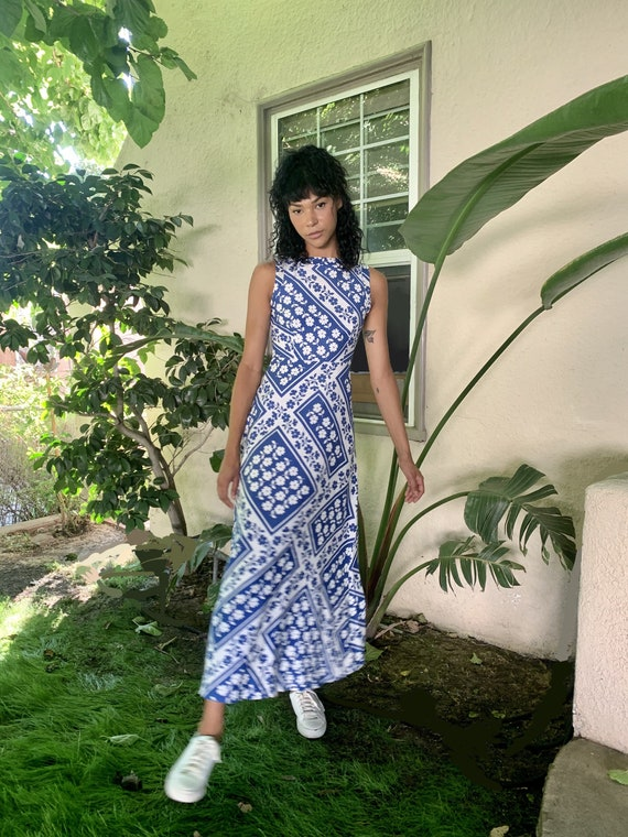 Vintage Malia Blue and White Floral Dress