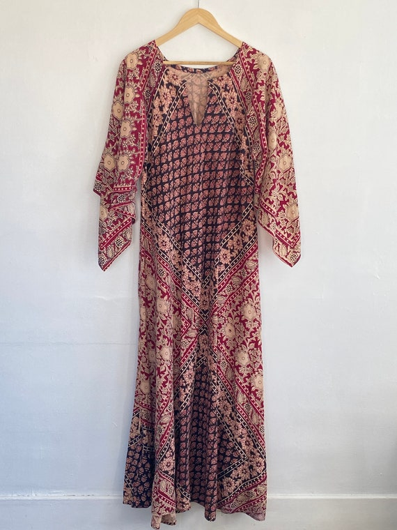 Vintage Bell Sleeve 1970s Indian Dress