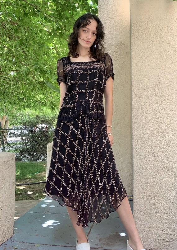 Vintage Roaring 20's/Prairie Style Black Dress