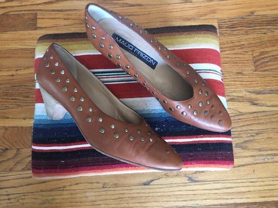 Vintage Maud Frizon Paris cognac studded heels