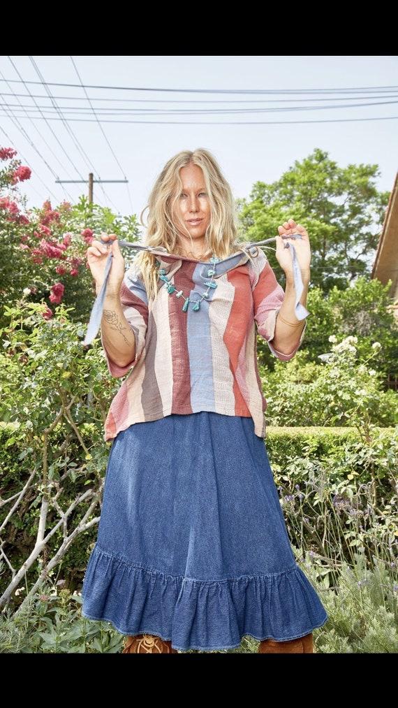 Vintage N'est-ce Pas? Denim Skirt with Ruffle - image 6