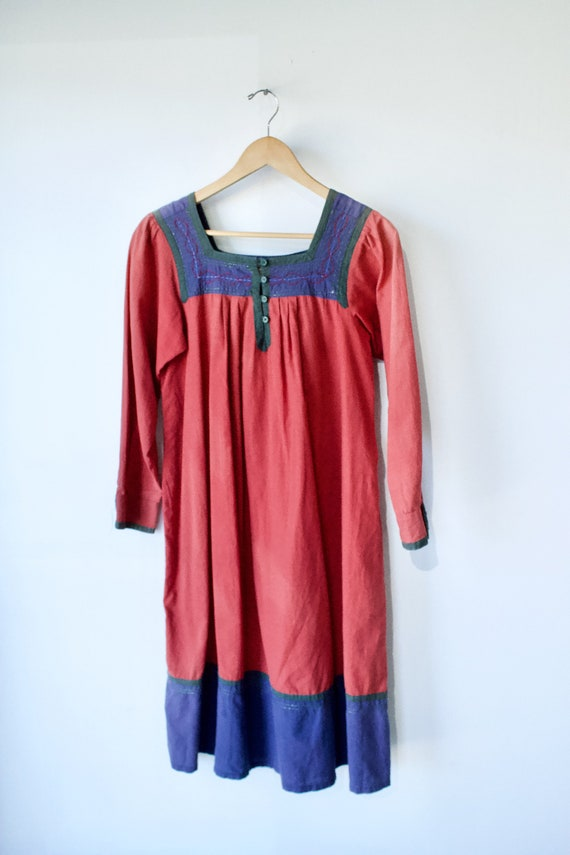 Vintage Starina Red Cotton Indian Dress