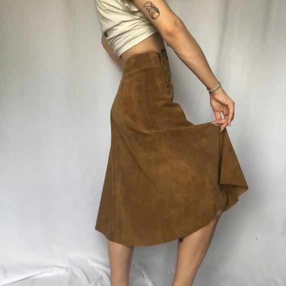 Vintage Brown Suede Zip Flared Skirt