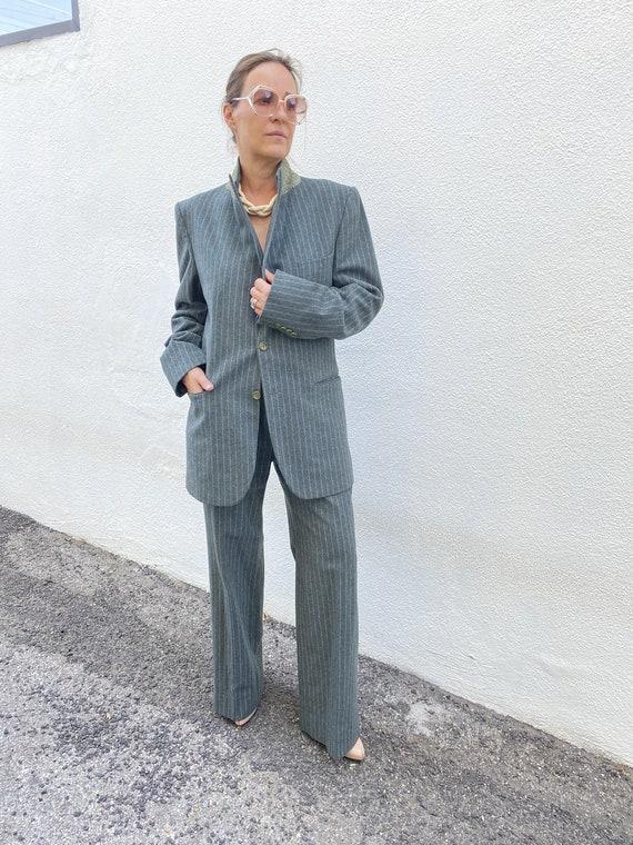 Vintage YSL Yves Saint Laurent Green Wool Suit