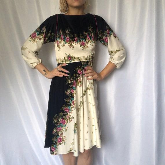 Vintage Floral Boatneck Midi Dress