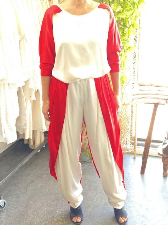 Fong Leng Red and White Silk Pant Suit