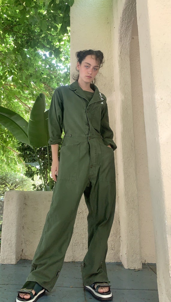 Vintage Army Green Coverall Jumpsuit