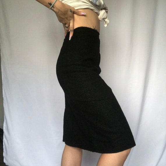 Vintage Black Wool Pencil Skirt