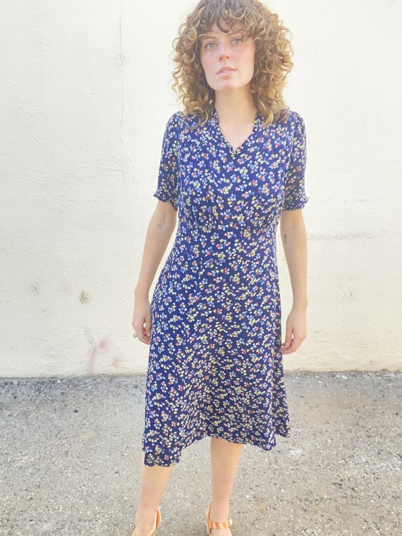 Vintage 40s Navy Floral Cold Rayon Midi Dress