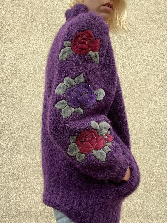 Vintage Purple Puff Sleeve Cardigan - image 3