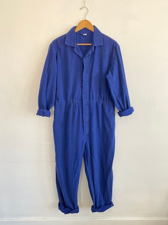 Vintage Indigo Blue Workwear Jumpsuit