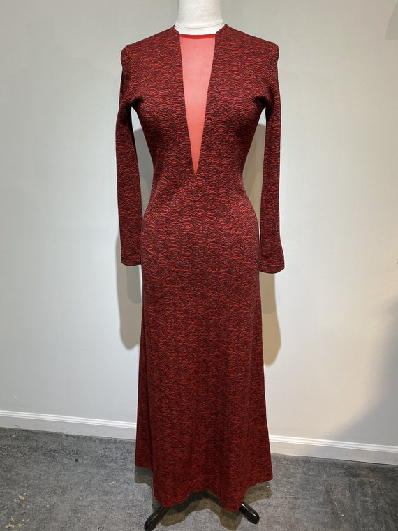 1960s  Rudi Gernreich Plunging V Neck Knit Dress