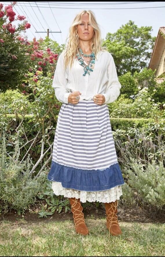 Vintage Comme des Garçons striped prairie skirt
