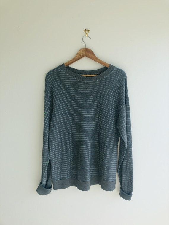 1940s Vintage Striped Gray Sweatshirt