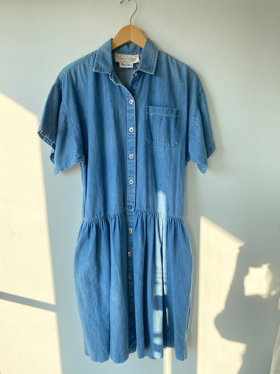 Vintage Oscar de la Renta for Swirl Denim Dress
