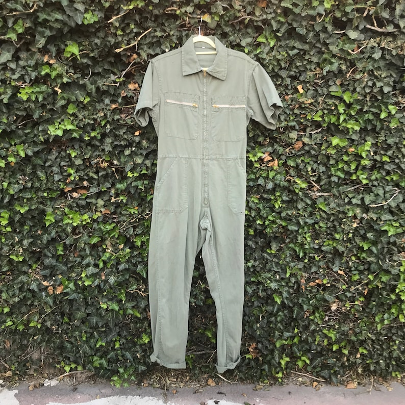 Vintage Olive Green Short Sleeve Coveralls Cotton Workwear One Size