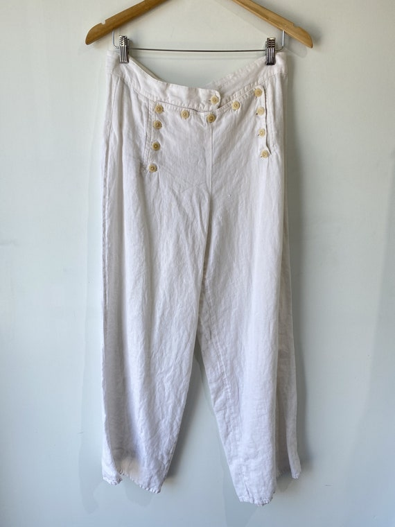 Vintage Flax White Linen Sailor Pants