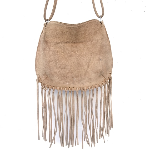 Vintage Tan Suede Leather Fringe Shoulder Crossbod