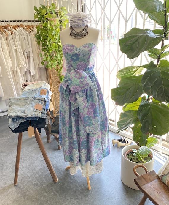 Vintage Laura Ashley Floral Strapless Dress