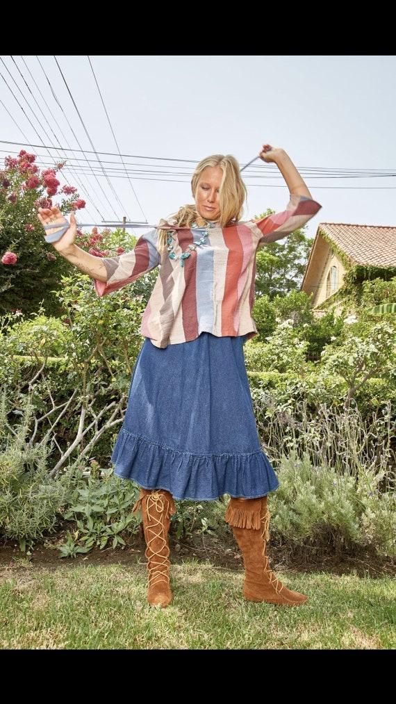 Vintage N'est-ce Pas? Denim Skirt with Ruffle - image 5