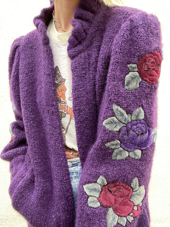 Vintage Purple Puff Sleeve Cardigan - image 2