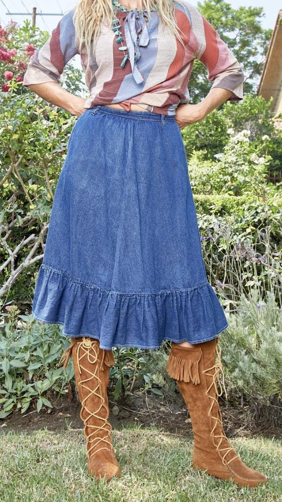 Vintage N'est-ce Pas? Denim Skirt with Ruffle - image 1