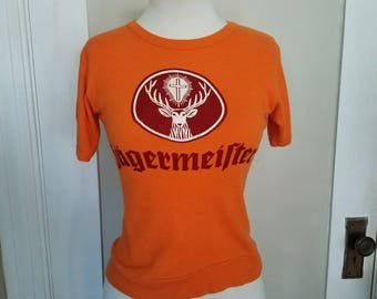 Vintage Orange Jagermeister T-shirt size small. No label.