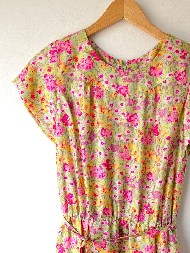 Vintage Floral Silk Dress