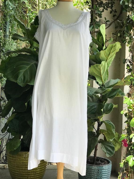 Vintage White Cotton Slip Dress