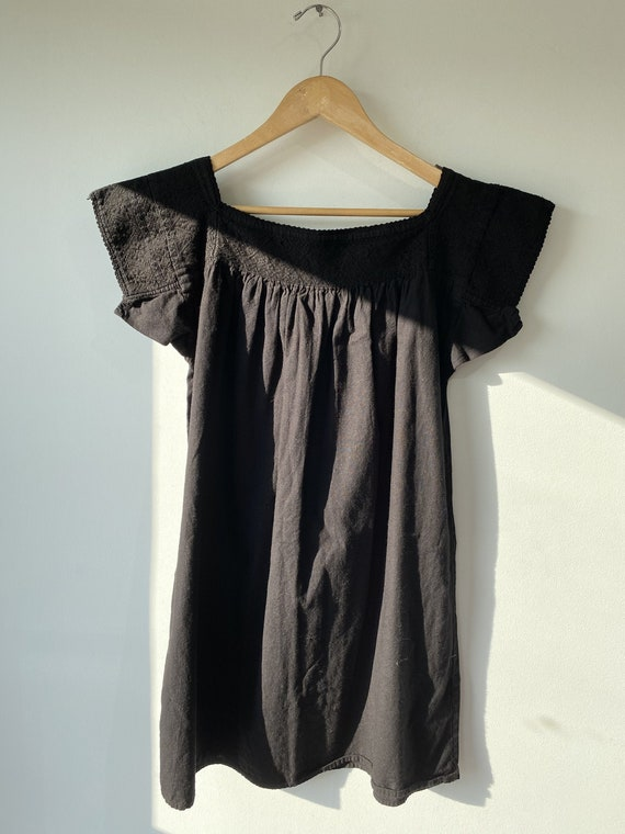 Vintage Overdyed Black Mexican Embroidered Dress