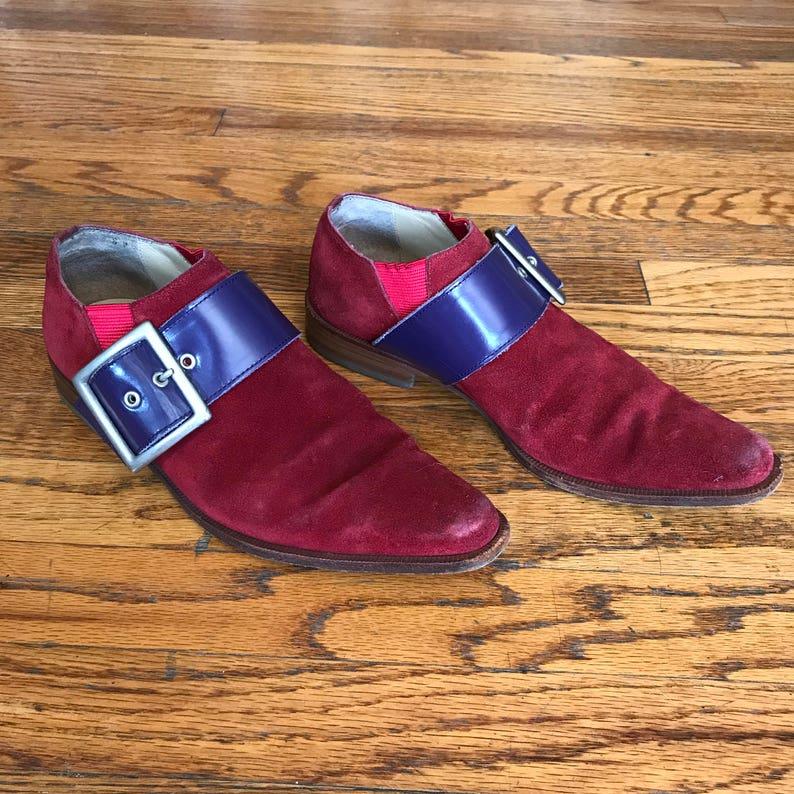 2099e15f3672 Rare Vintage Comme Des Garçons Red Suede Shoes with Purple